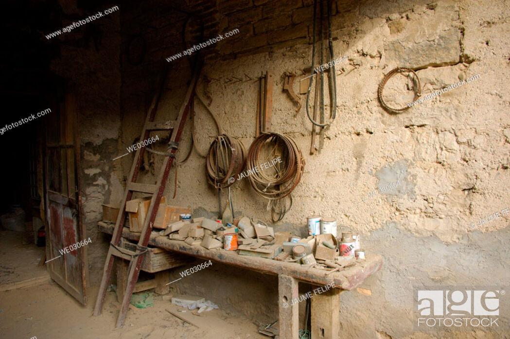 Stock Photo: Old abandoned carpenter's workshop. Huesca, Aragón, Spain.