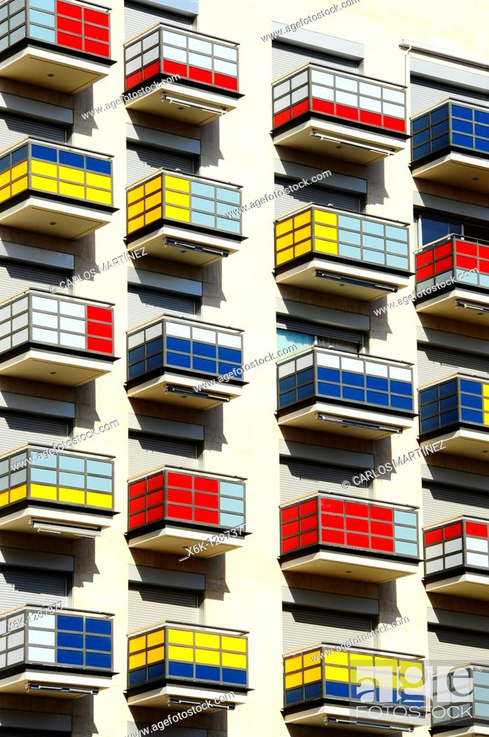 Stock Photo: Colorful balconies in residential building. Tarragona, Catalonia, Spain.