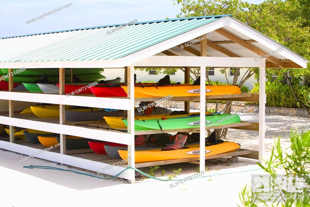 Stock Photo: Group of canoes in a stand, Dixon Cove, Roatan, Bay Islands, Honduras.