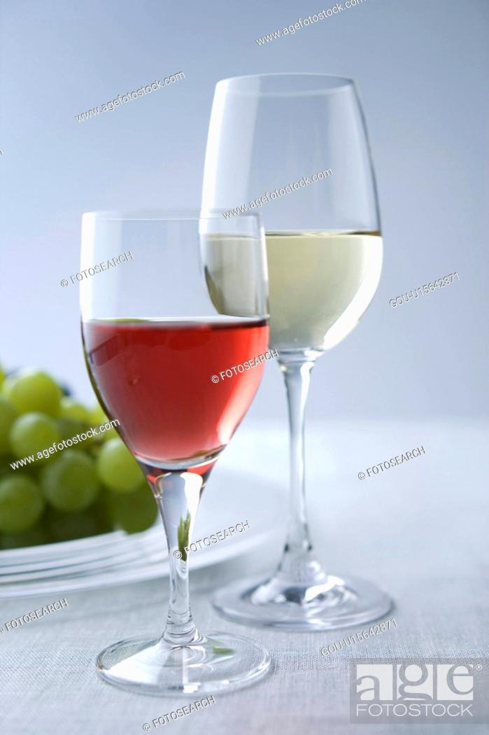 Stock Photo: Rose and red wine.