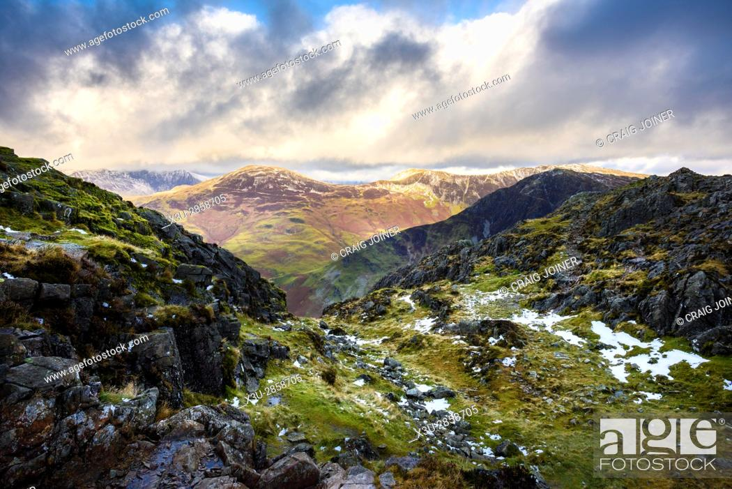 Stock Photo: Robinson and Fleetwith Pike viewed from Hay Stacks in the Lake District National Park, Cumbria, England.