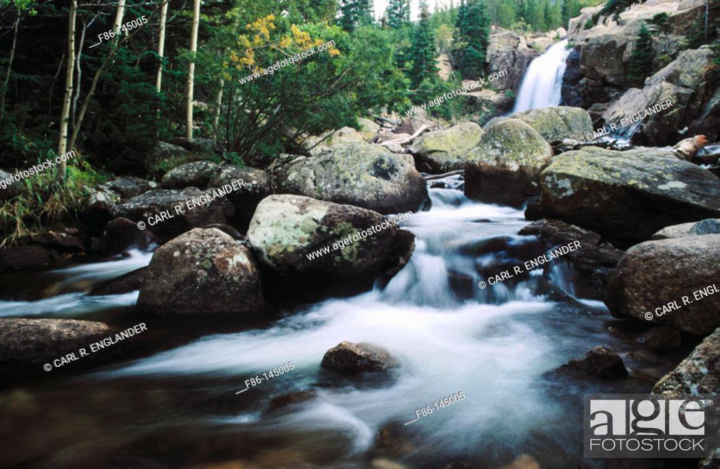 Stock Photo: Alberta Falls, Rocky Mountain National Park. Colorado. USA.