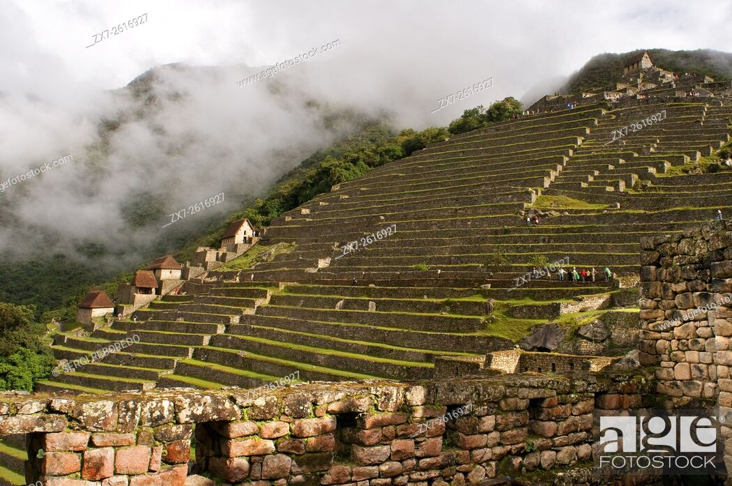 Stock Photo: Terraces inside the archaeological complex of Machu Picchu. Machu Picchu is a city located high in the Andes Mountains in modern Peru.