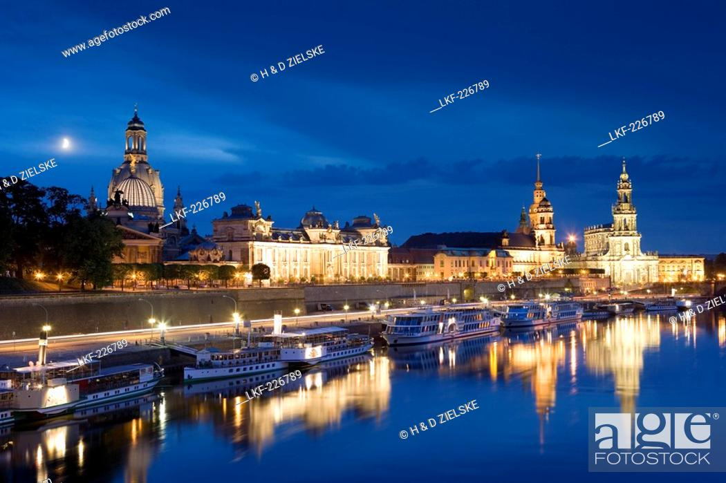 Stock Photo: View over river Elbe to Bruhl's Terrace, Dresden Castle, Standehaus and Katholische Hofkirche, Dresden, Saxony, Germany.