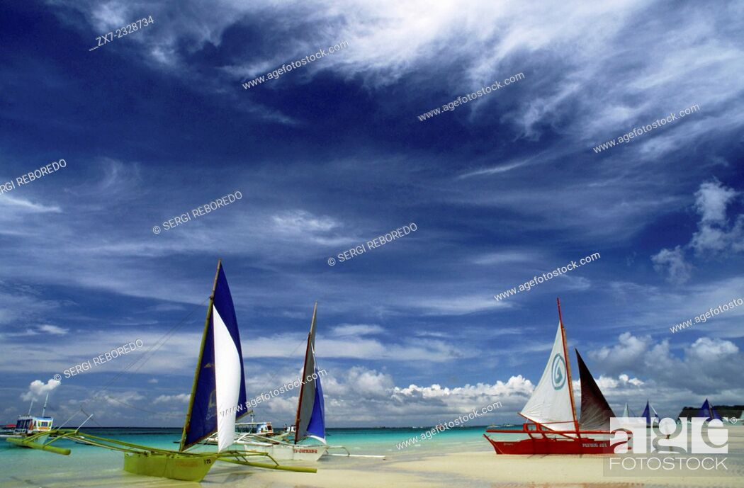 Stock Photo: Philippines. Boracay Island Philippines. Sail boats on beach Boracay, The Visayas, Philippines. Bankas on white sand. White beach. Boracay.