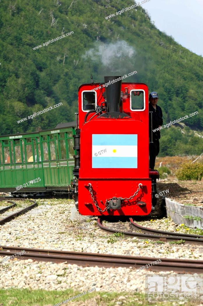 Stock Photo: Tren del Fin del Mundo, End of the World Train, Tierra del Fuego National Park, Fireland, Patagonia, Argentina, South America.