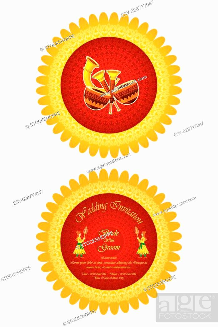 Vector Illustration Of Indian Wedding Invitation Card Stock