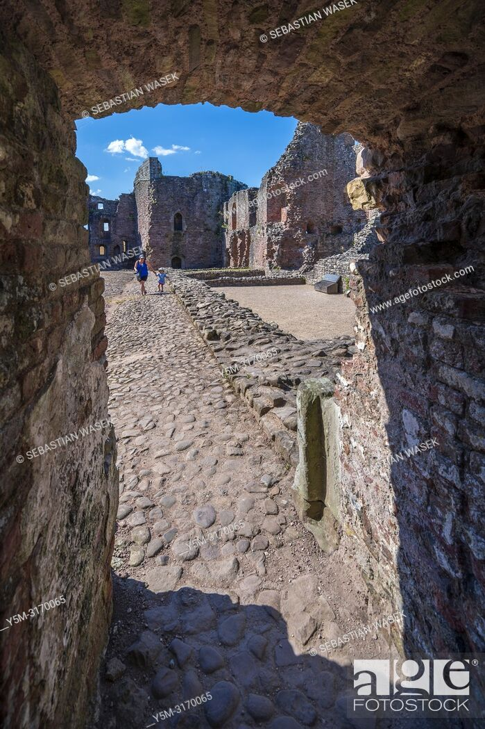 Stock Photo: Raglan Castle, Monmouthshire, Wales, United Kingdom, Europe.