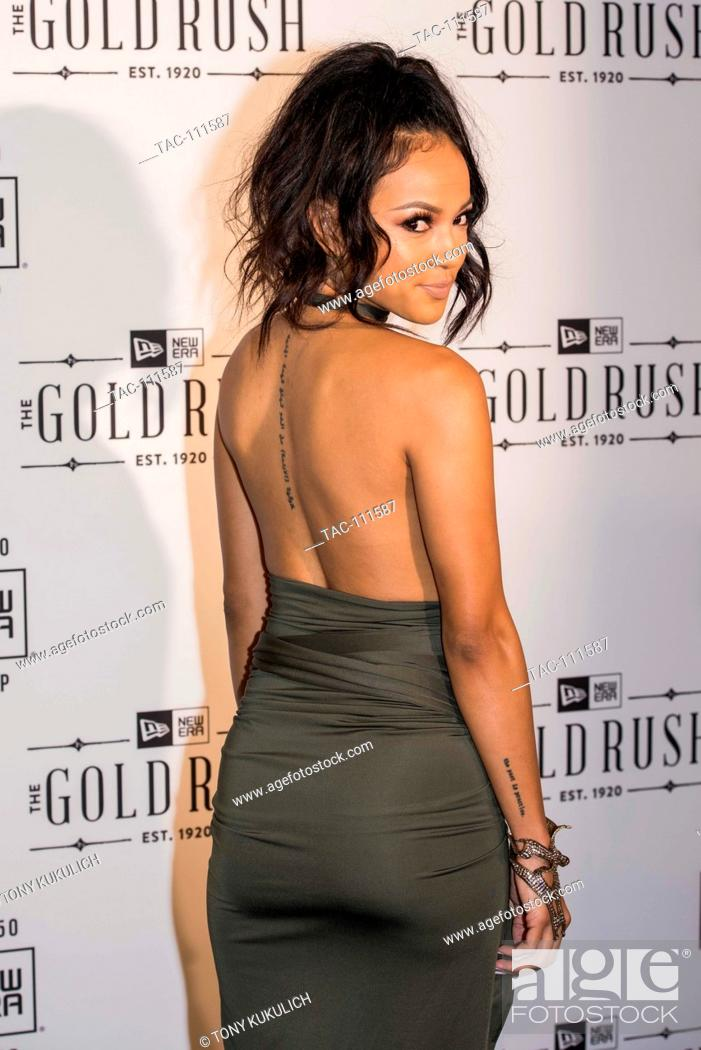 Karrueche Tran arrives on the red carpet at the Gold Rush