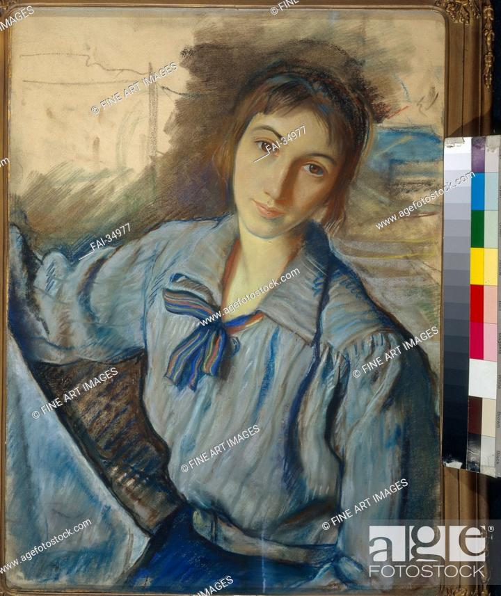 Stock Photo: Self-Portrait at work by Serebriakova, Zinaida Yevgenievna (1884-1967)/Pastel on paper/Russian Painting, End of 19th - Early 20th cen.
