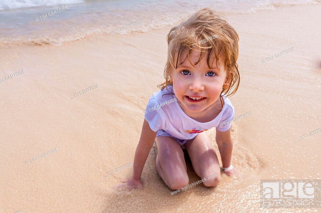 Stock Photo: young girl on beach, Riu Palace, hotel, Punta Cana, Dominican Republic, Caribbean.