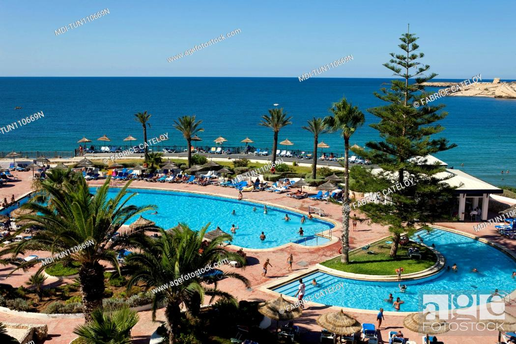 Stock Photo: Tunisia - Monastir - The swimming pool of the Regency hotel close to the marina.