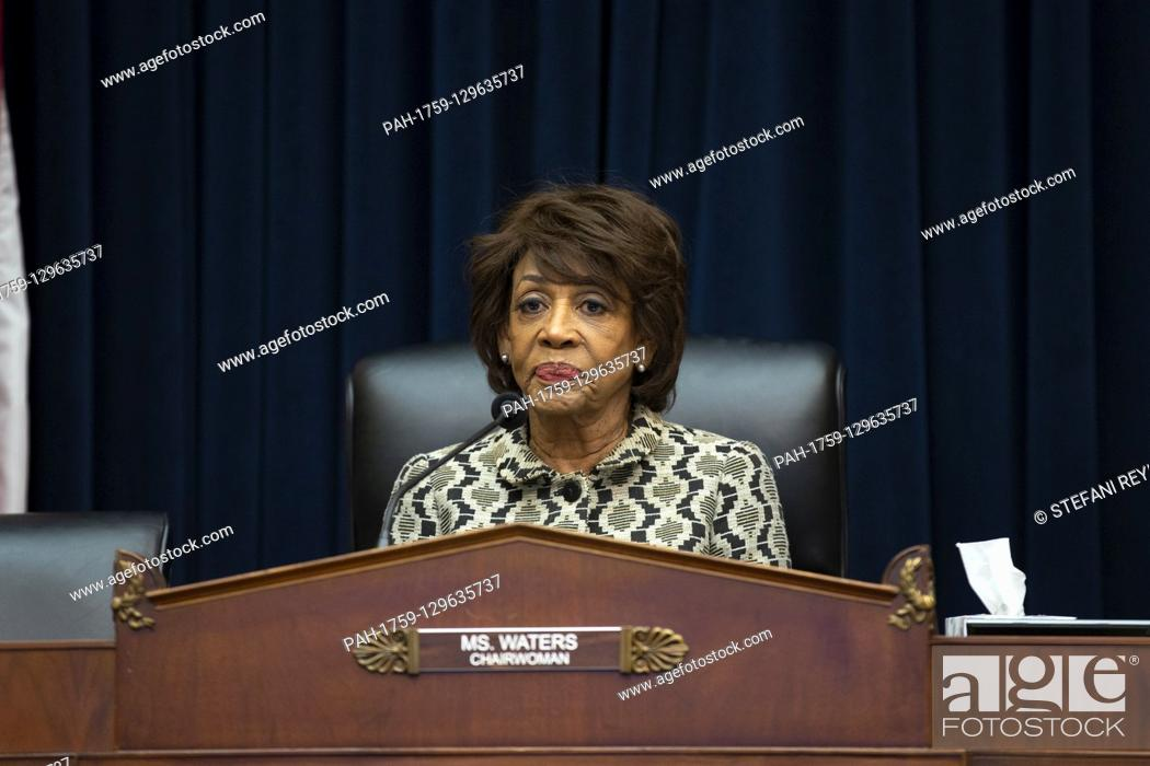 Stock Photo: United States Representative Maxine Waters (Democrat of California) speaks as Chair of the Federal Reserve Jerome Powell testifies before the U.S.