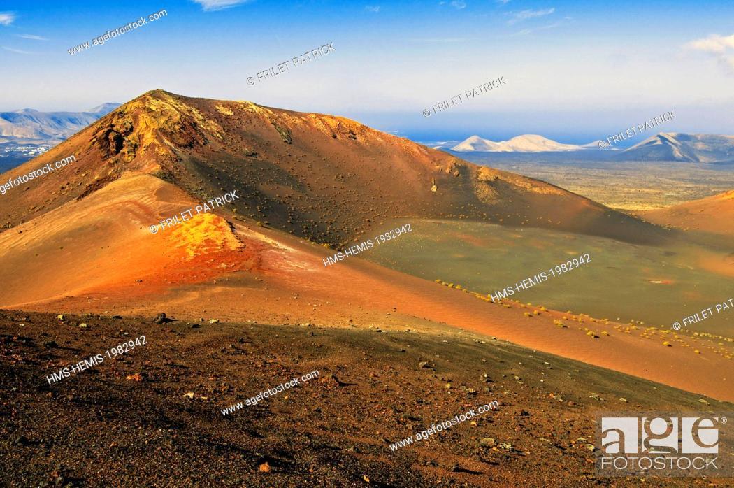 Stock Photo: Spain, Canaries Islands, Lanzarote island, the National Park of Timanfaya.