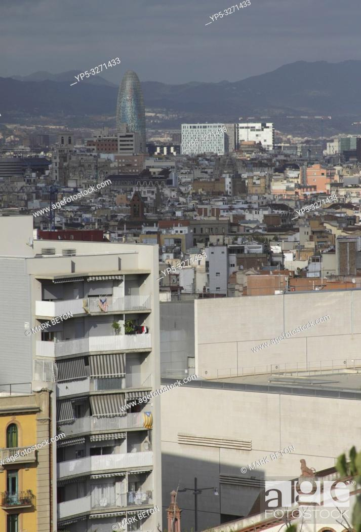 Stock Photo: Barcelona cityscape including Torre Agbar view from Montjuic.