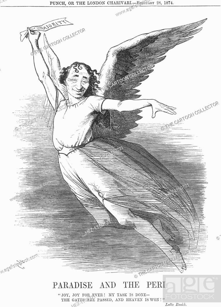 Stock Photo: 'Paradise and the Peri', 1874. Mr Disraeli is taken by the wings of happiness. The General Election of the 5th March 1874 had seen the Conservatives.