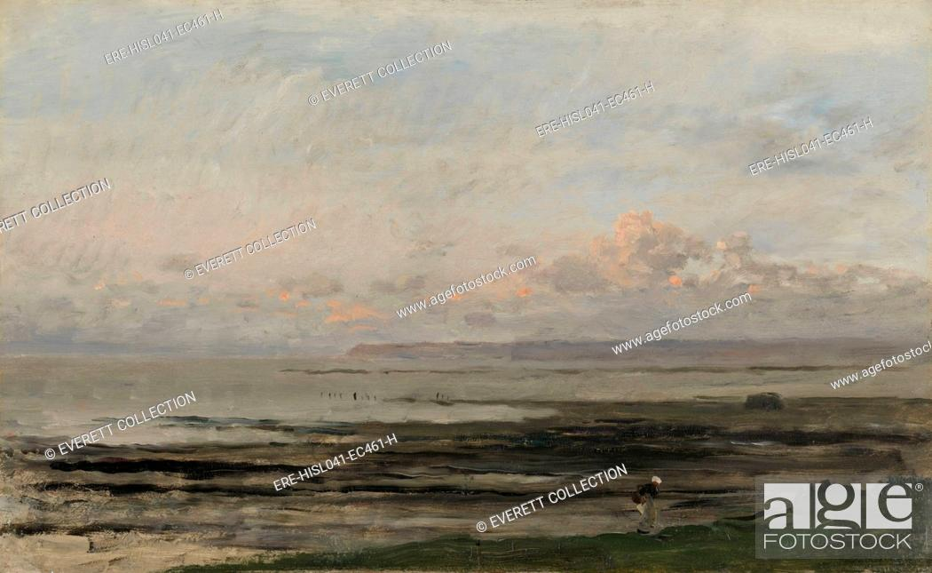 Stock Photo: Beach at Ebb Tide, by Charles Francois Daubigny, c. 1850-78, Dutch painting, oil on panel. Seascape in Villerville-sur-Mer in Normandy with a solitary figure.