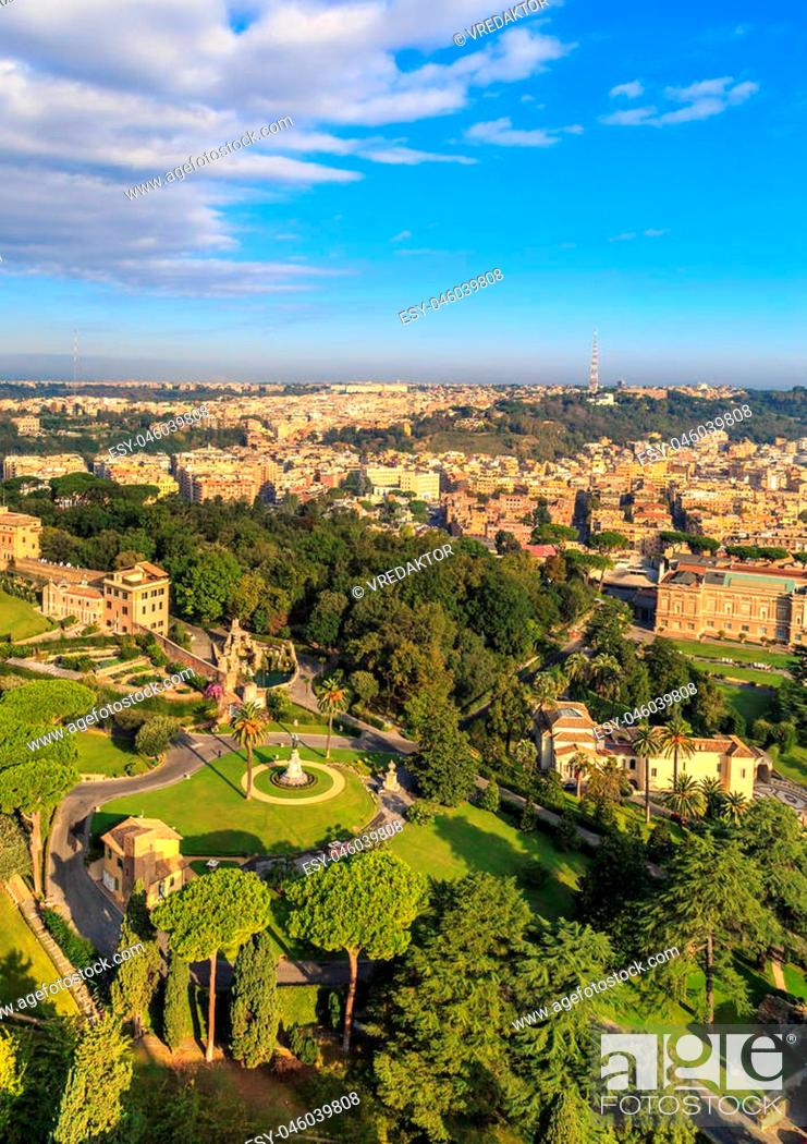 Stock Photo: View at the Vatican Gardens in Rome from the dome of St. Peter.