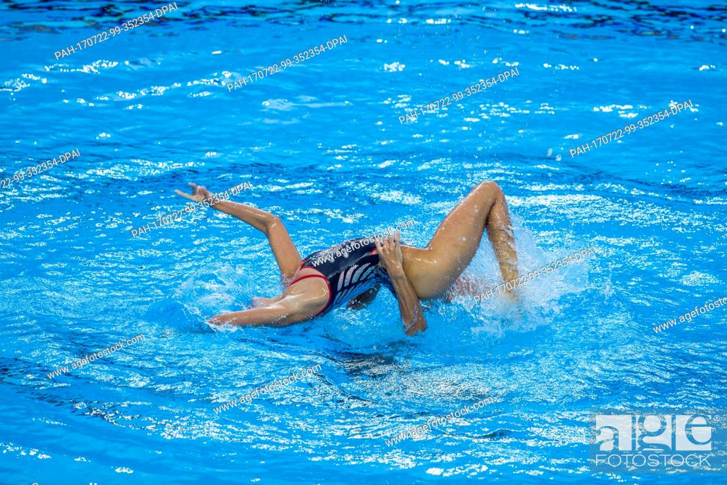 Stock Photo: Pau Ribes and Berta Ferreras Sanz (Spain) in action in the mixed duet free event at the FINA World Championships 2017 in Budapest, Hungary, 21 July 2017.