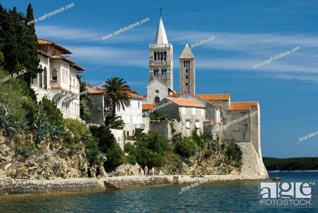 Stock Photo: View of old town and campaniles, Rab Town, Rab Island, Kvarner Gulf, Croatia, Adriatic, Europe.