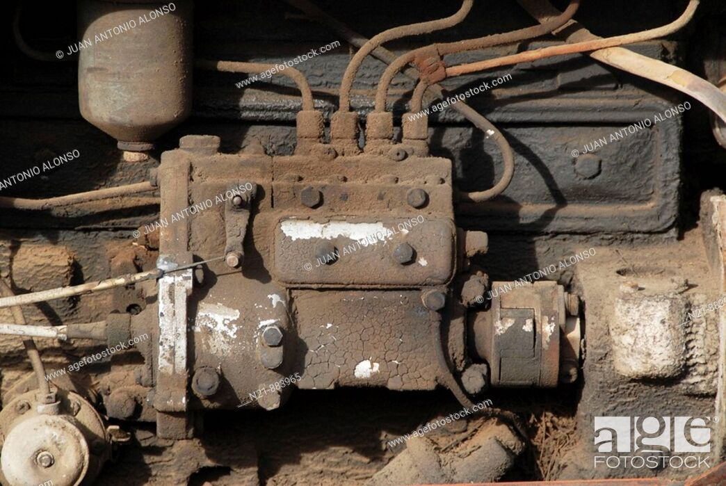 Stock Photo: Old Spanish EBRO tractor engine.