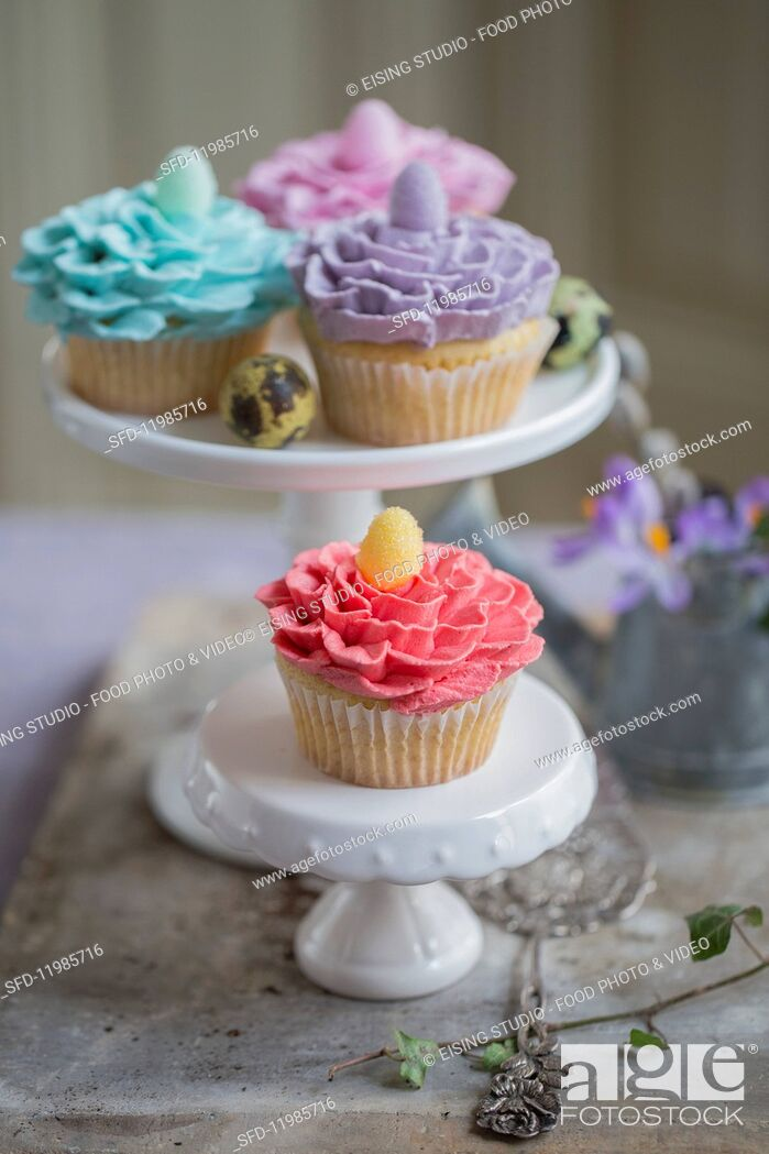 Stock Photo: Easter cupcakes.