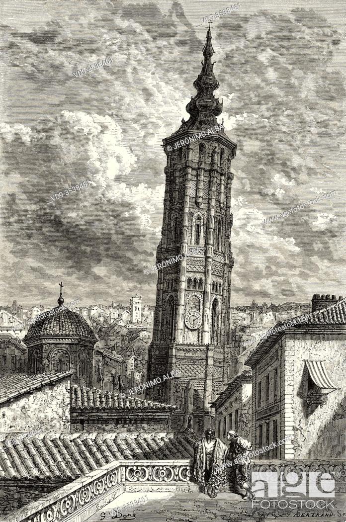 Stock Photo: Torre Nueva. Leaning tower of Zaragoza, Aragon. Spain, Europe. Old 19th century engraved illustration, El Mundo en la Mano 1878.