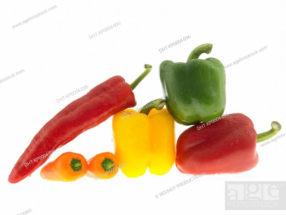Stock Photo: Six Mixed Peppers.