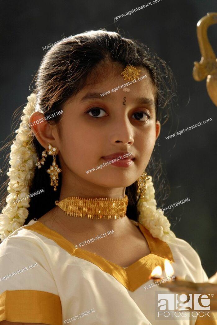 b28e5d3d2b girl child model kerala in attire onam dress, Stock Photo, Picture ...