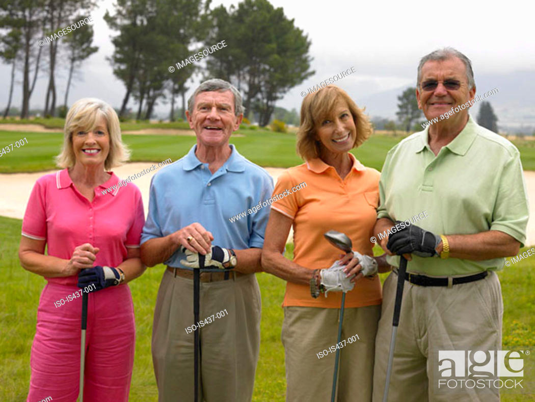 Stock Photo: Friends at the golf course.