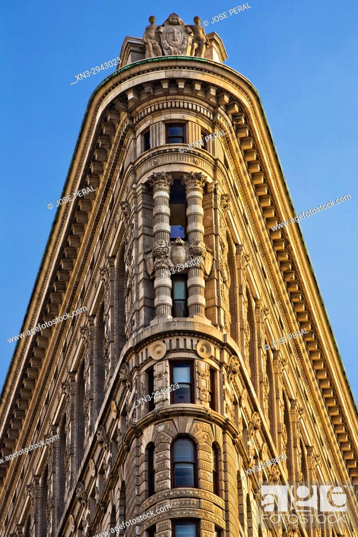 Imagen: Flatiron Building, close-up of the apex, Fifth Avenue, Midtown, Manhattan, New York City, New York USA.
