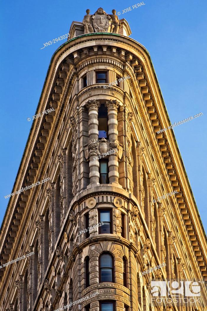 Stock Photo: Flatiron Building, close-up of the apex, Fifth Avenue, Midtown, Manhattan, New York City, New York USA.
