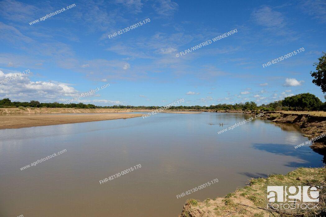 Stock Photo: View of river habitat, River Luangwa, South Luangwa N.P., Zambia, June.