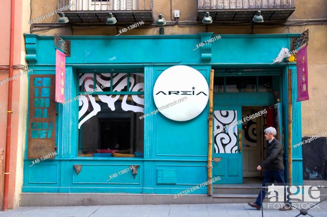 Stock Photo: Bar exterior Calle de Hortaleza street Malasana district central Madrid Spain Europe.