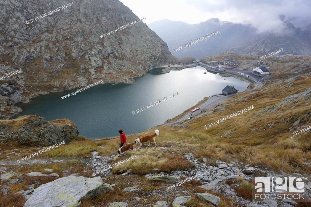 Stock Photo: Swizerland, Valais, Col du Grand Saint Bernard pass, the lake.