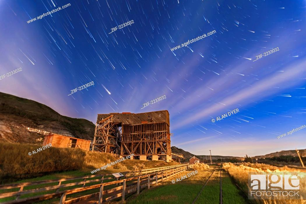 Stock Photo: The old Atlas Coal Mine near East Coulee, Alberta, now a museum and tourist attraction. This is a composite of 20 x 1 minute exposures with the Canon 5D MkII.
