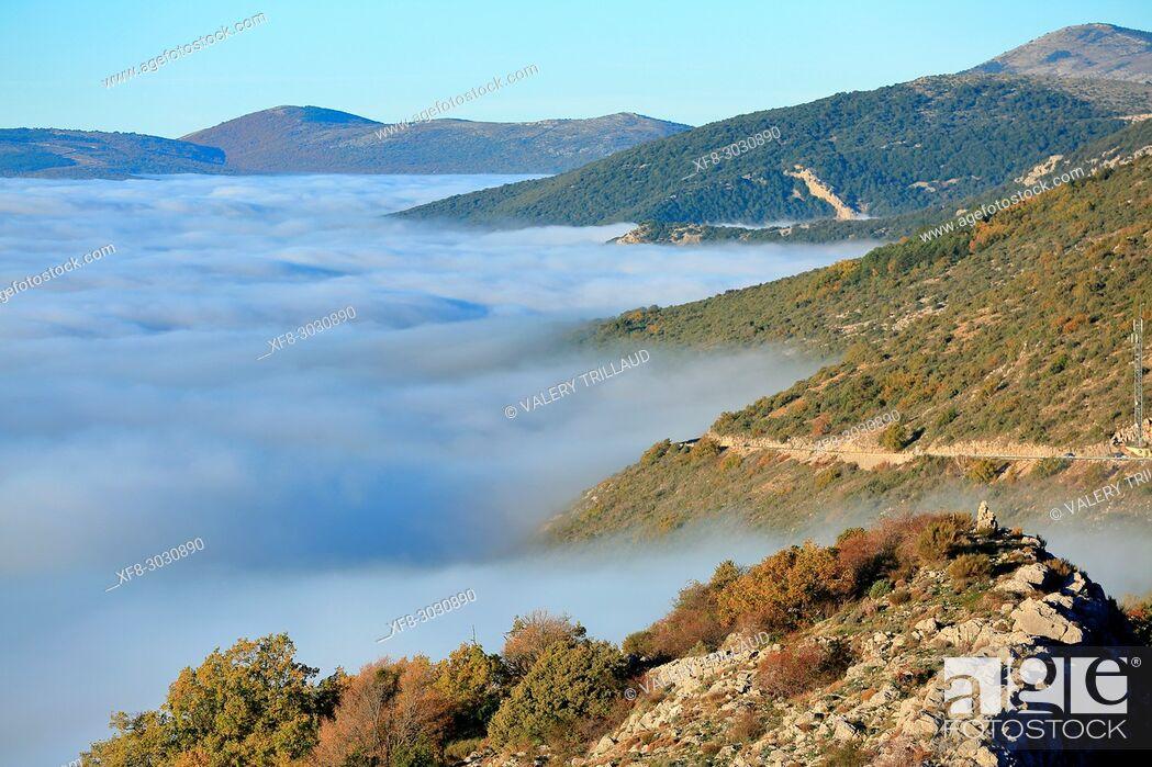 Stock Photo: Mist on the mountains of Grasse back-country, Parc naturel régional des Préalpes d'Azur, Alpes-Maritimes, 06, Cote d'Azur, PACA, France.