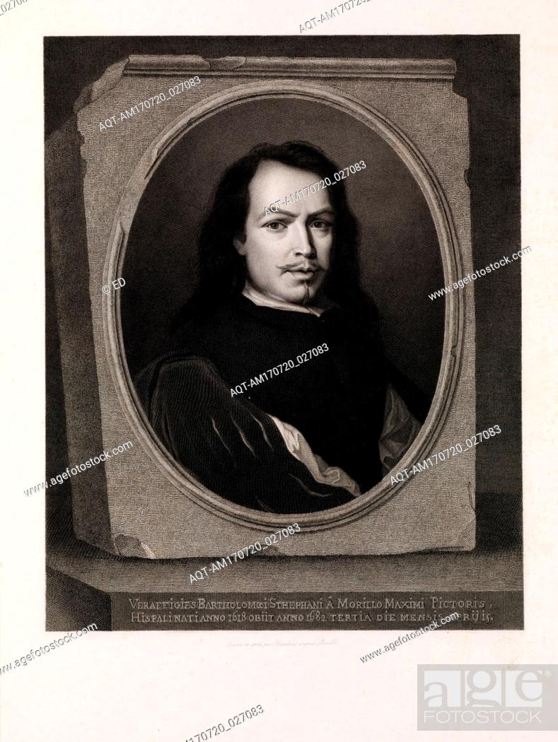 Stock Photo: Drawings and Prints, Print, Murillo, after a self portrait by the artist, Publisher, Artist, After, Auguste Blanchard fils aîné, Henry Gache.