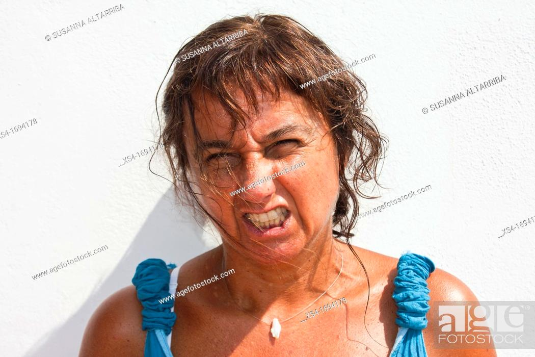Stock Photo: Face of angry women.
