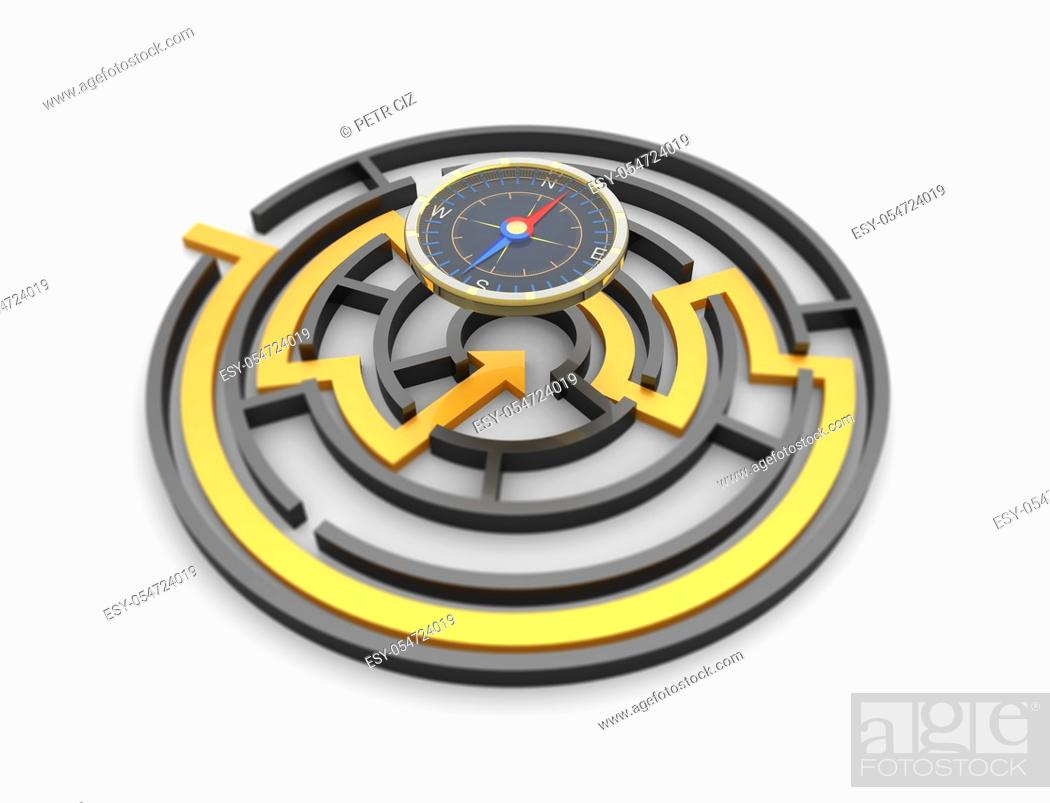 Stock Photo: Round labyrinth maze with a compass showing right direction. Concept of metaphor.