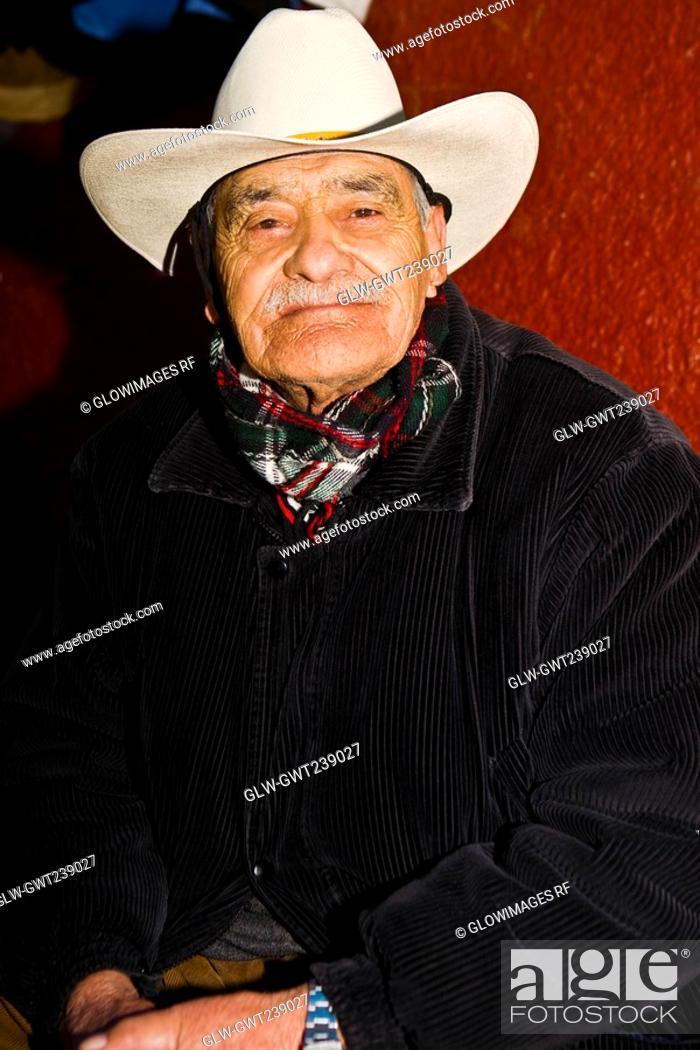 Stock Photo: Portrait of a senior man smiling, Zacatecas State, Mexico.