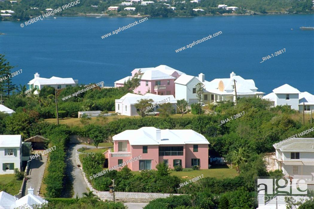 Stock Photo: View from Gibbs Hill, Bermuda, Atlantic Ocean, Central America.