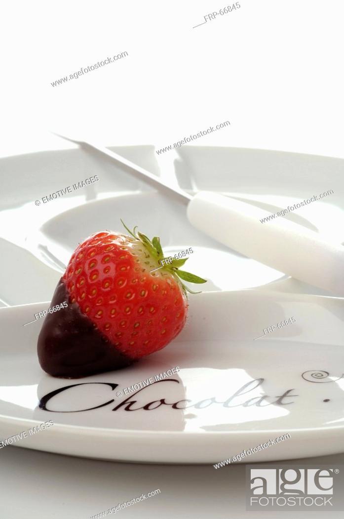 Stock Photo: Strawberry in chocolate.