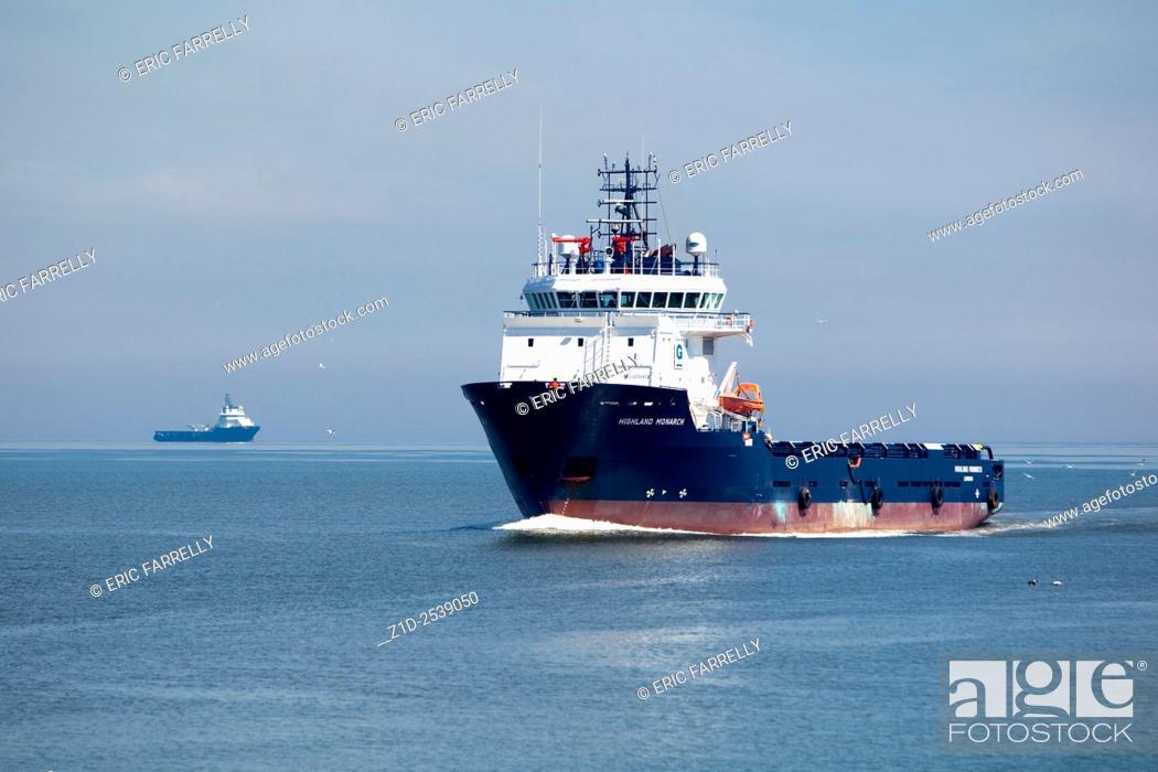 "Imagen: multi purpose oil industry vessel """"Highland Monarch"""" arriving Aberdeen Scotland."