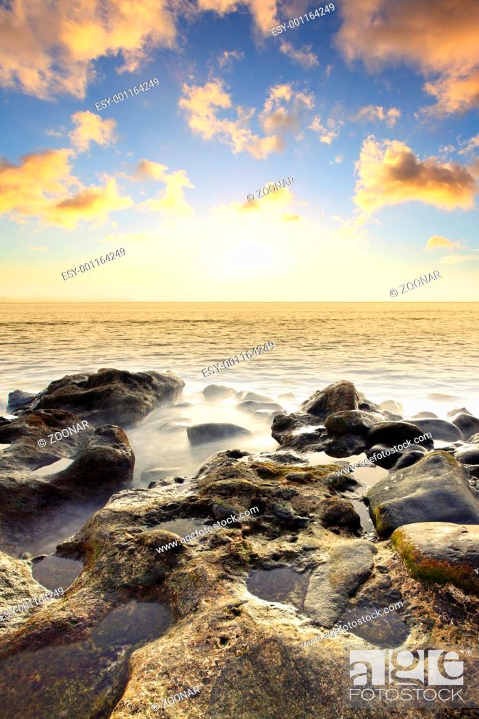 Stock Photo: Sundown at sea.