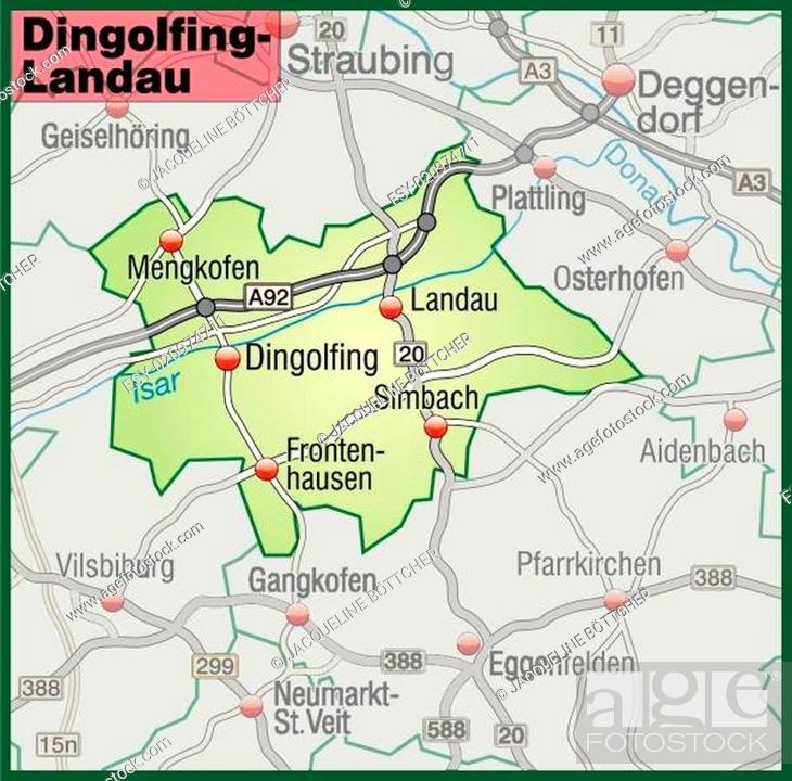 Karte Von Dingolfing Landau Mit Verkehrsnetz In Pastellgrun Stock