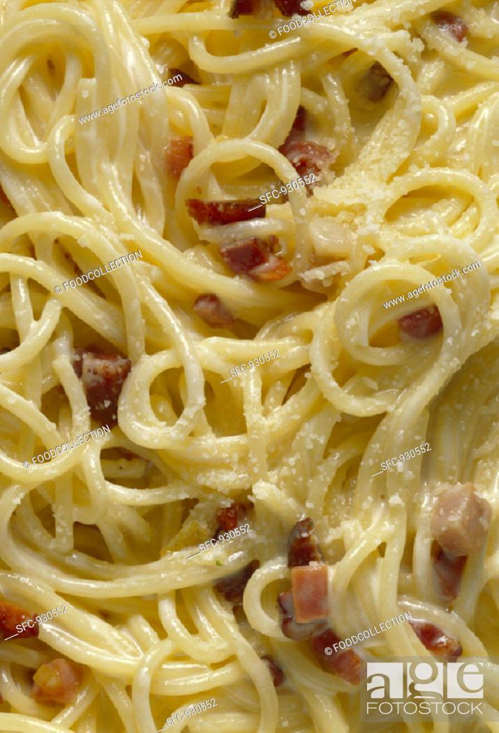 Stock Photo: Linguine with Carbonara Sauce.