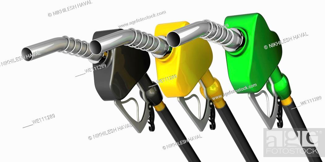 Stock Photo: Petrol gas nozzles.