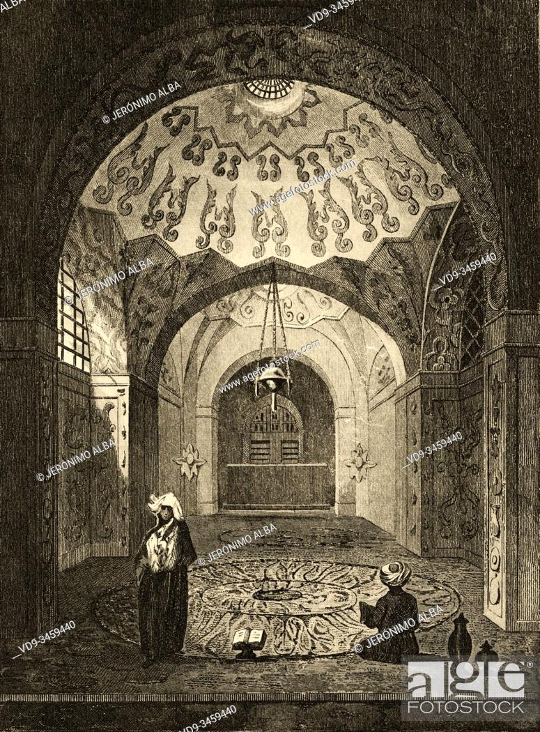 Photo de stock: Tomb of Sam Mirza, better known by his dynastic name of Shah Sefi I. Iran. Old steel engraved antique print. Published in L'Univers La Perse, in 1841.