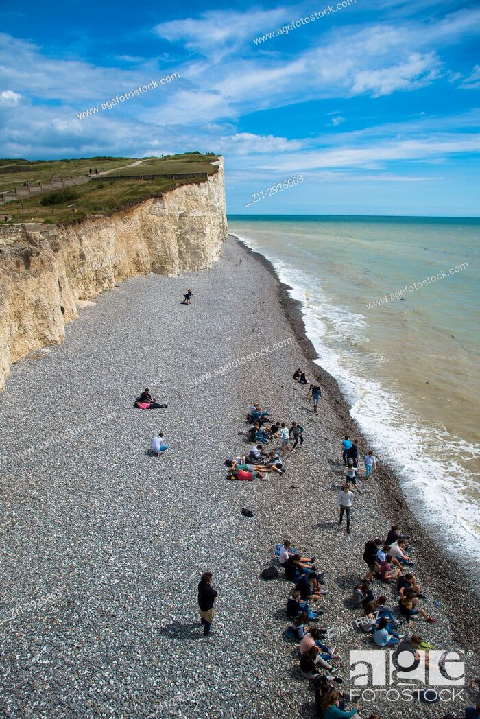 Stock Photo: pebbles beach and cliff coast at Beachy Head, Sussex, England.
